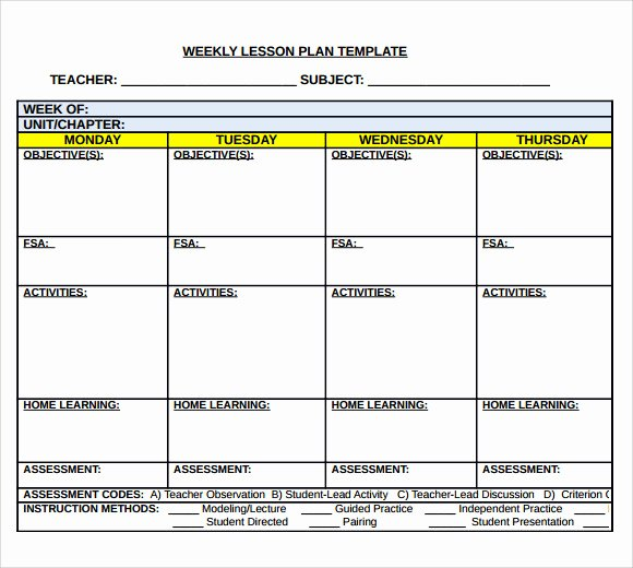 Daily Lesson Plan Template Doc Unique Sample Middle School Lesson Plan Template 7 Free