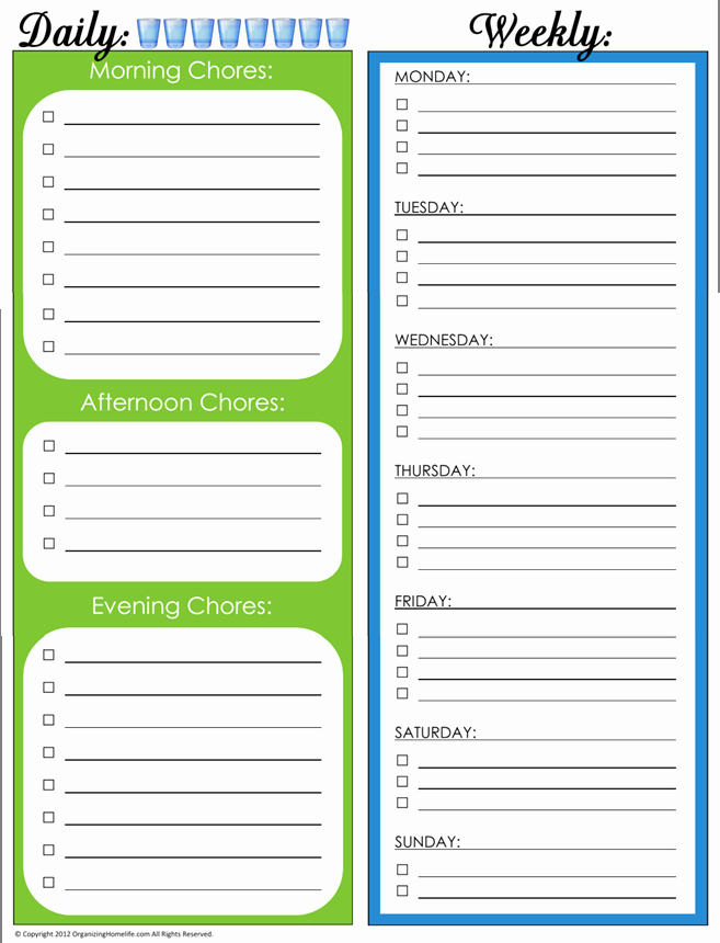 Daily Weekly Chore Chart Fresh 31 Days Of Home Management Binder Printables Day 4 Daily