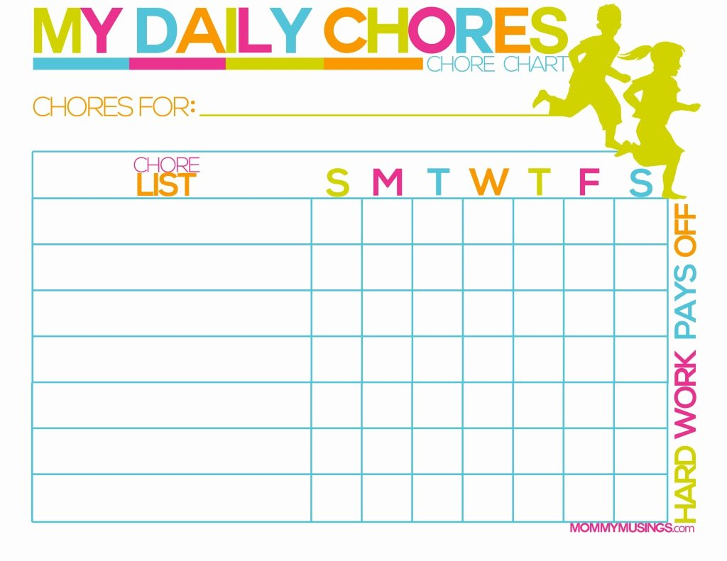 Daily Weekly Chore Chart Fresh Free Printable Kids Chore & Rewards Chart