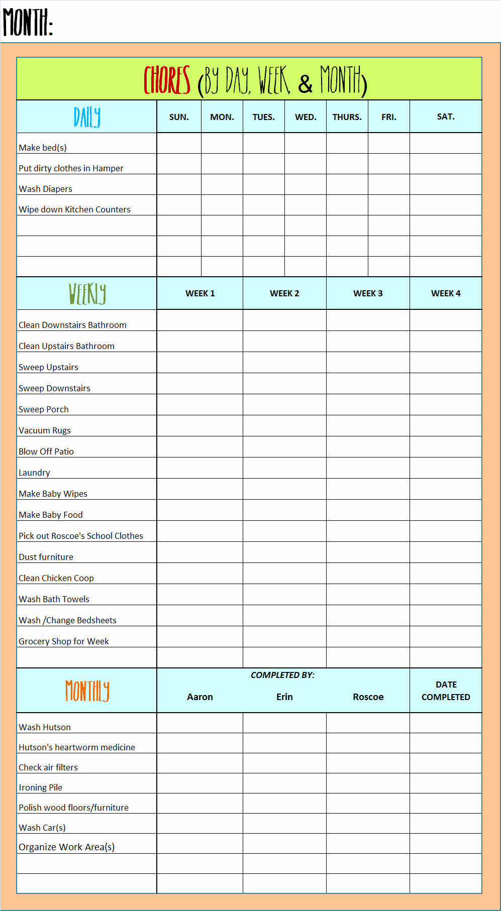 Daily Weekly Chore Chart Luxury Chore Chart