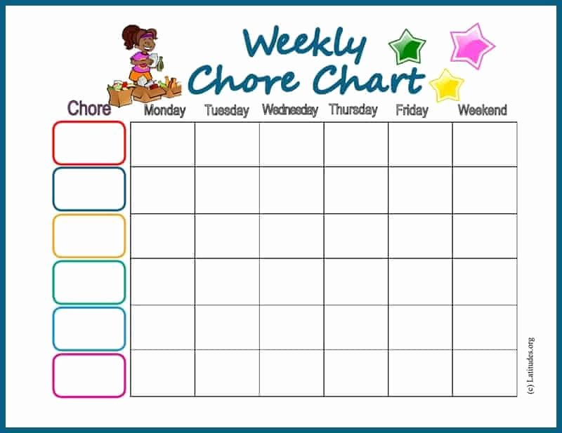 Daily Weekly Chore Chart New Free Chore Chart My Weekly Star