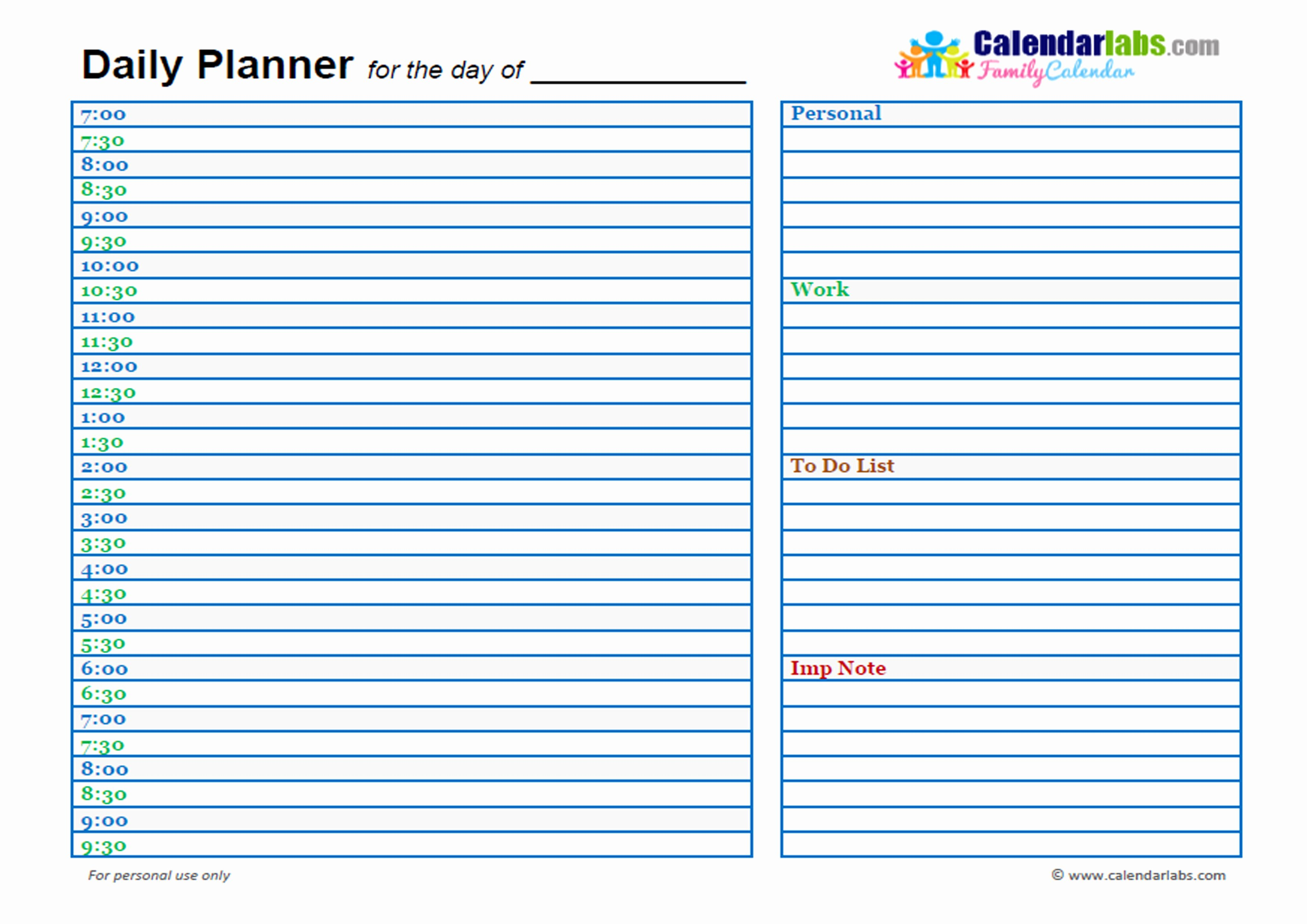 Day Planner Template Word Awesome 2017 Family Day Planner Free Printable Templates