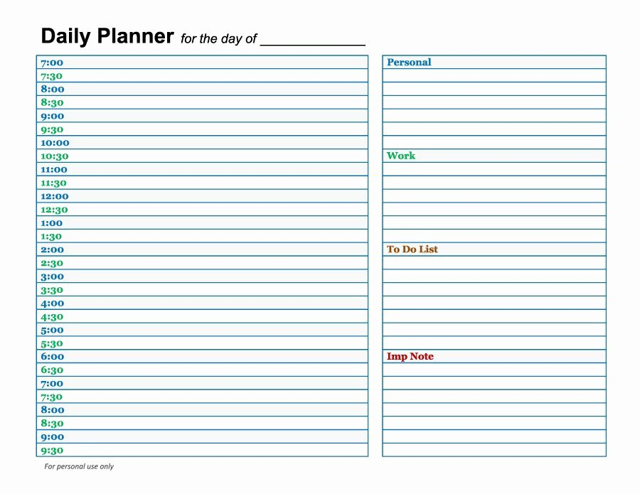 Day Planner Template Word Fresh 47 Printable Daily Planner Templates Free In Word Excel Pdf