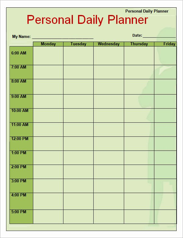 Day Planner Template Word Fresh Free 9 Free Printable Daily Planner Templates In Google