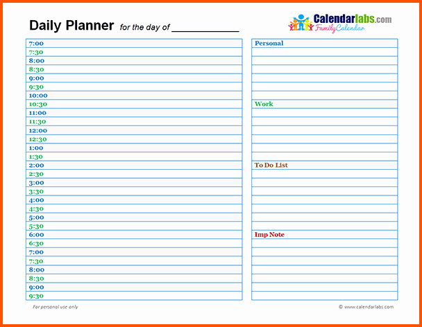 Day Planner Template Word Lovely 11 Day Planner Template