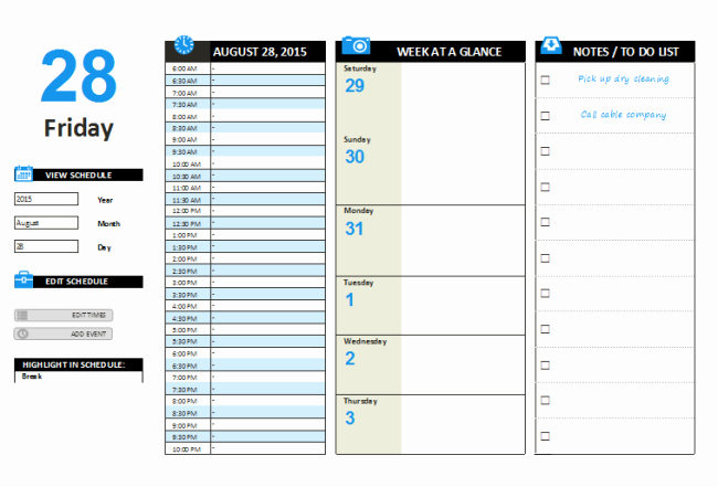 Day Planner Template Word Lovely Daily Planner Template