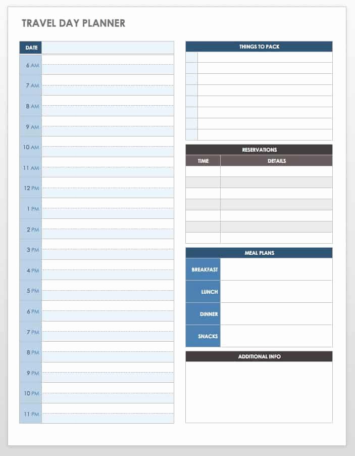 Day Planner Template Word Luxury Free Itinerary Templates