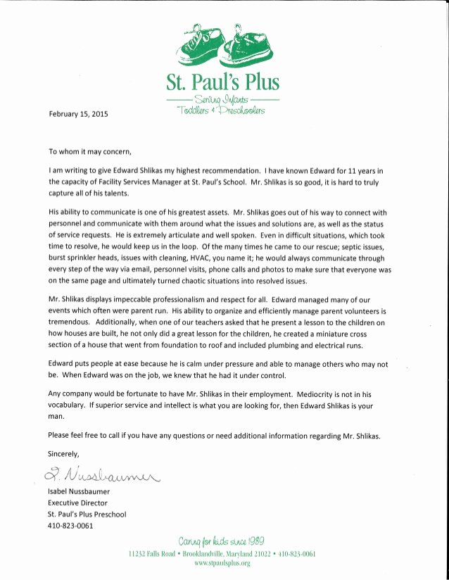 Daycare Letter Of Recommendation Best Of isabel Nussbaumer Executive Director Of St Paul S Plus
