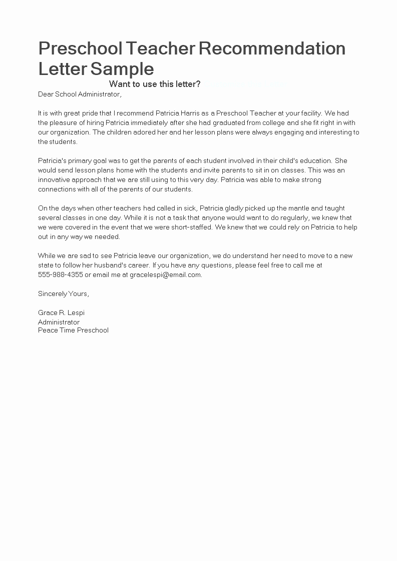 Daycare Letter Of Recommendation Best Of Letter Of Re Mendation for Preschool Teacher