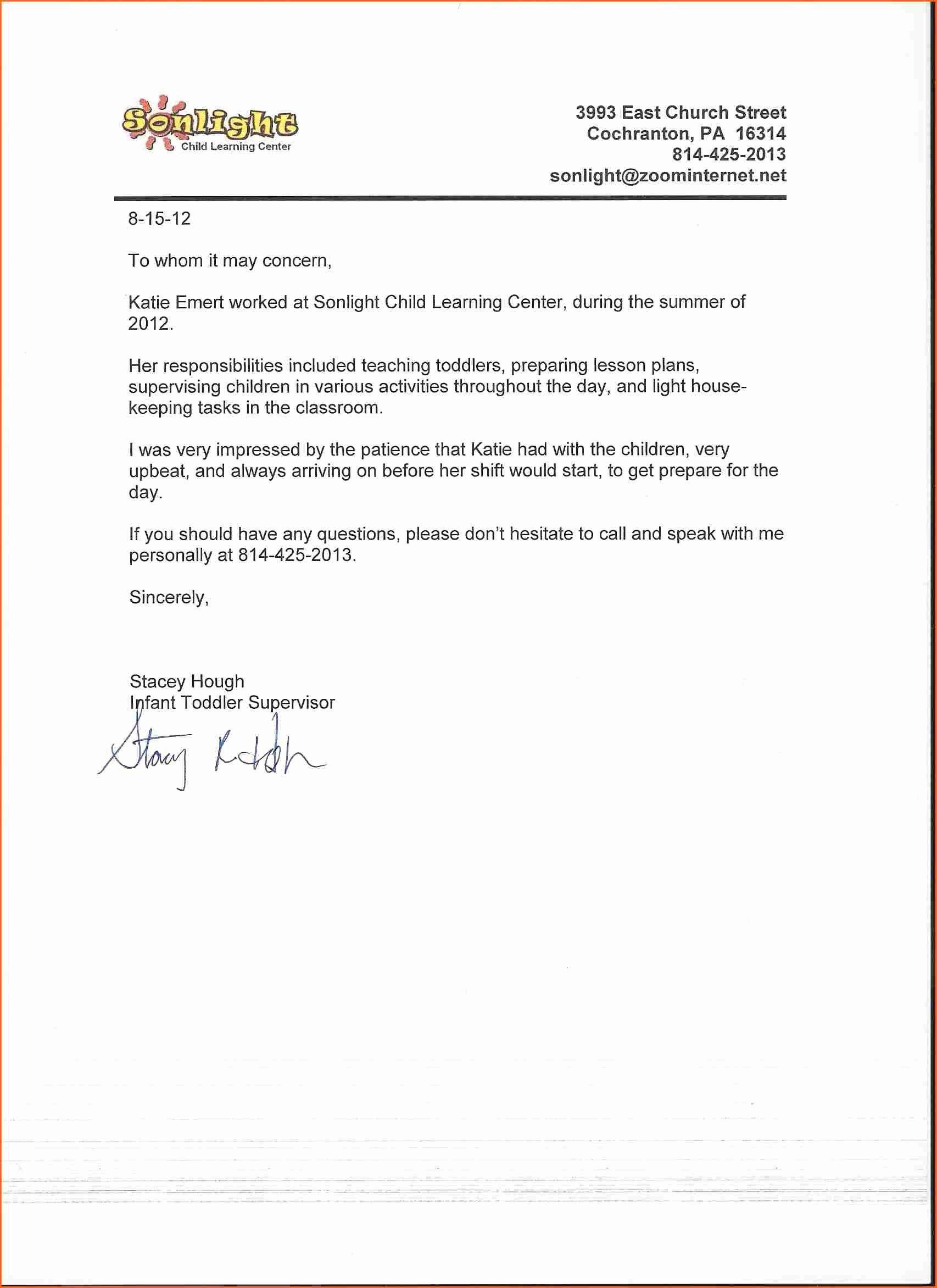 Daycare Letter Of Recommendation Fresh 12 13 Teacher Letter Of Rec Endation
