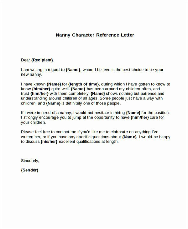 Daycare Letter Of Recommendation Inspirational 5 Sample Nanny Reference Letters Pdf Word