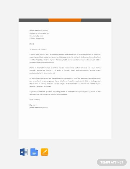 Daycare Letter Of Recommendation Lovely 95 Free Letter Reference Templates