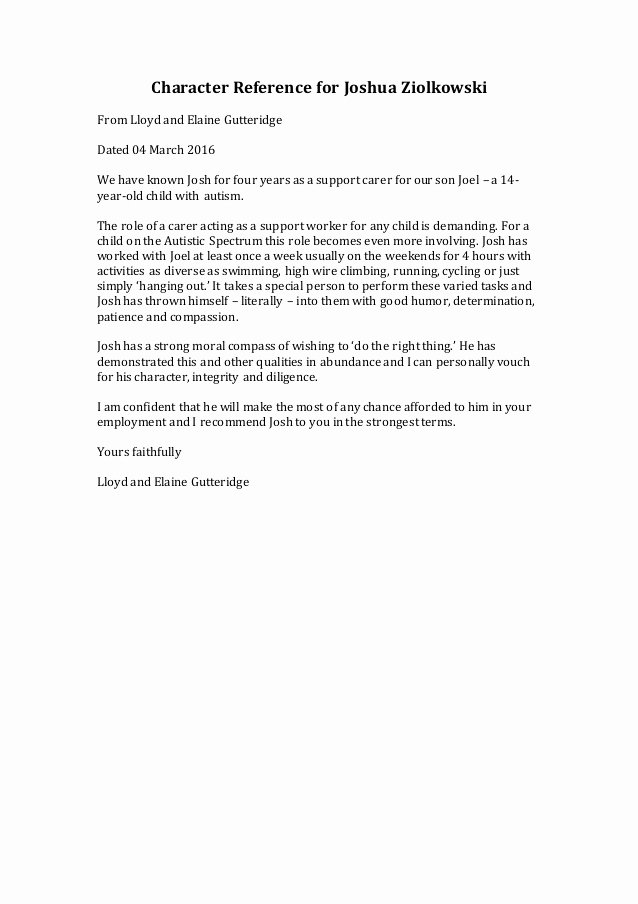 Daycare Letter Of Recommendation Lovely Character Reference for Joshua Z