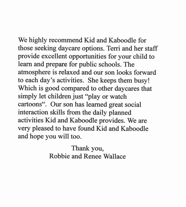 Daycare Letter Of Recommendation Lovely Kid N Kaboodle Day Care References