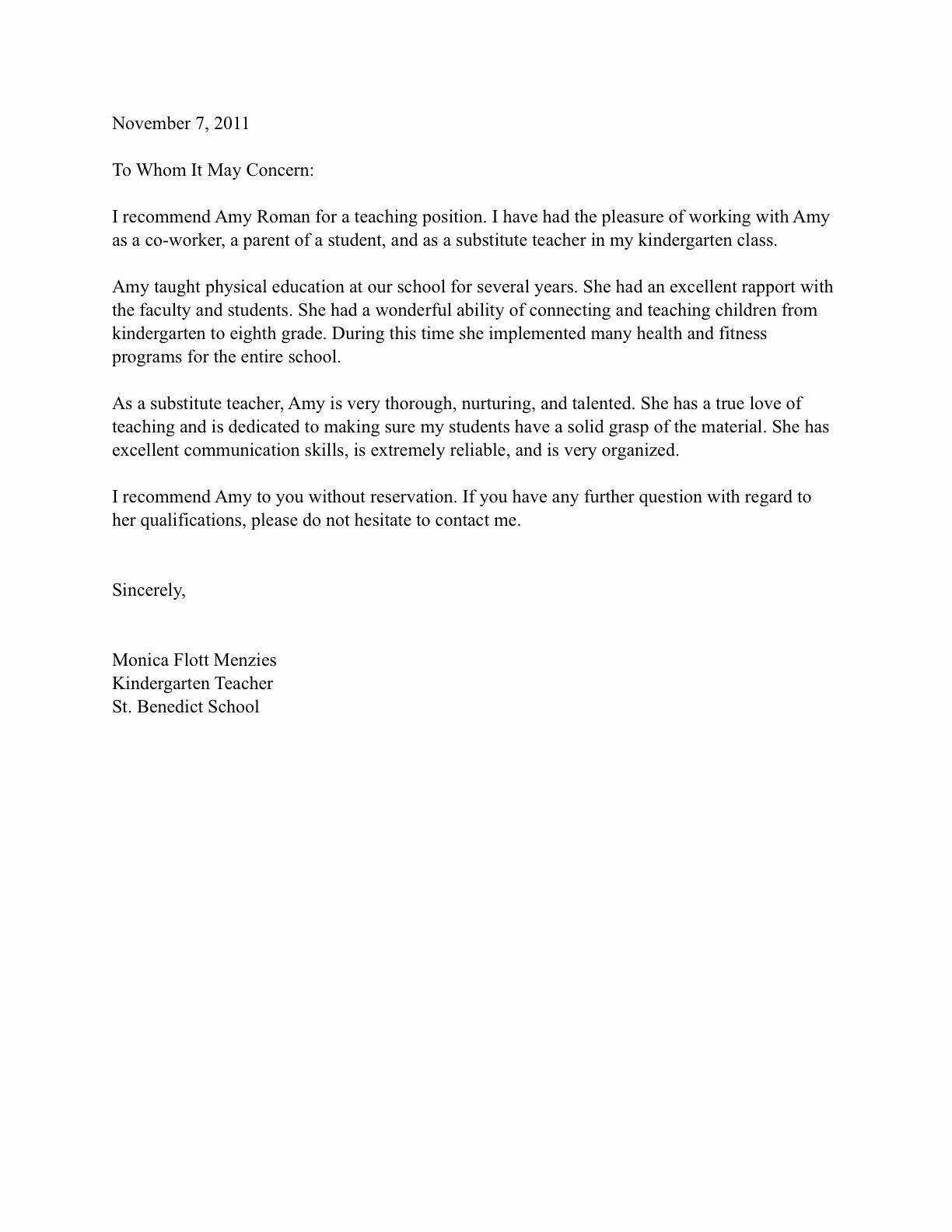 Daycare Letter Of Recommendation Lovely Letter Re Mendation for Preschool Teacher