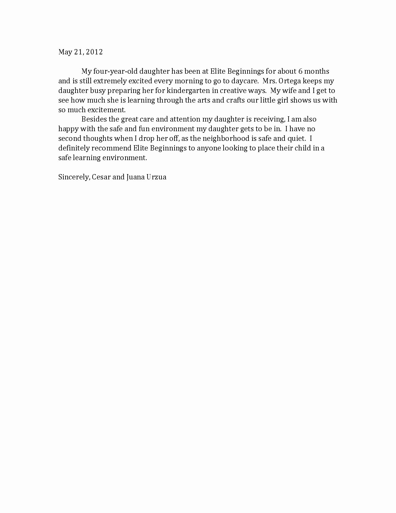 Daycare Letter Of Recommendation New Child Care Letter Free Printable Documents