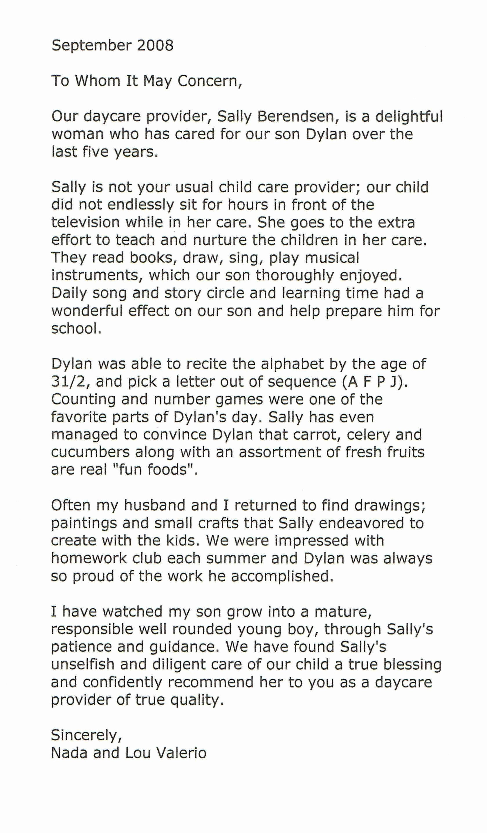 Daycare Letter Of Recommendation New top Of Page