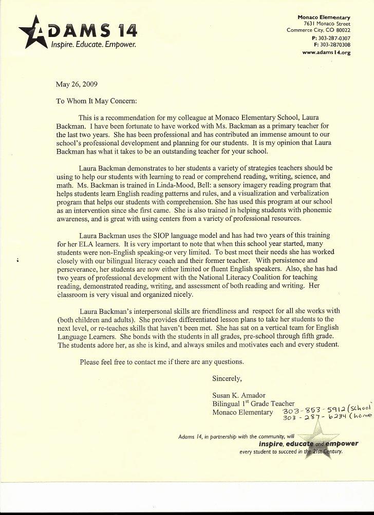 Daycare Letter Of Recommendation Unique Letter Re Mendation for Preschool Teacher