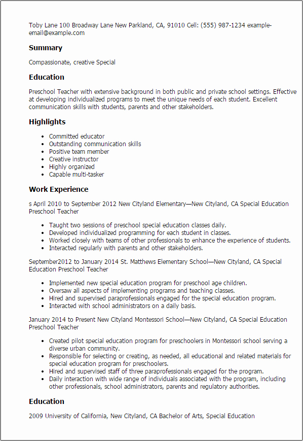 Daycare Teacher Resume Sample Awesome Professional Special Education Preschool Teacher Templates