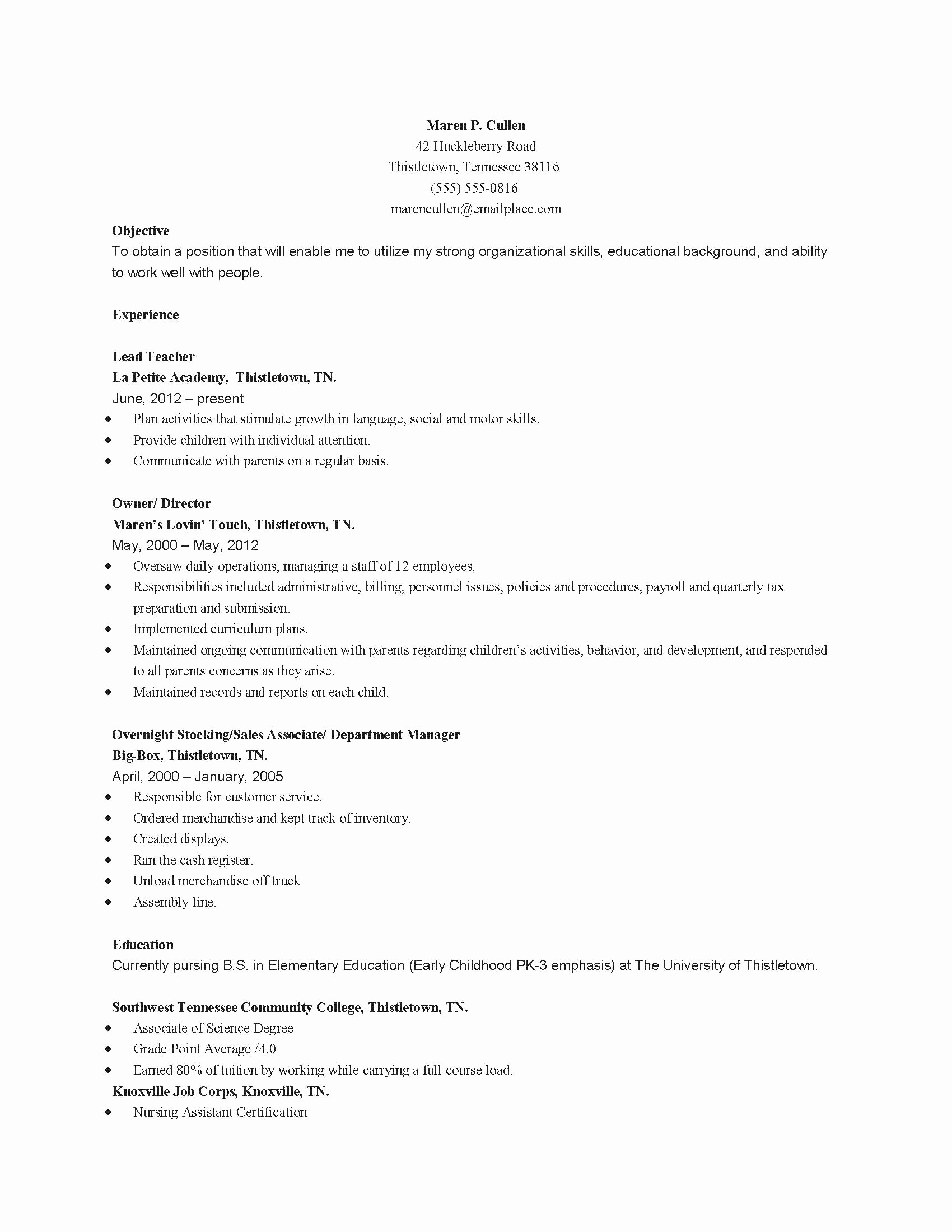 Daycare Teacher Resume Sample Beautiful Daycare Letter to Parents Template Collection
