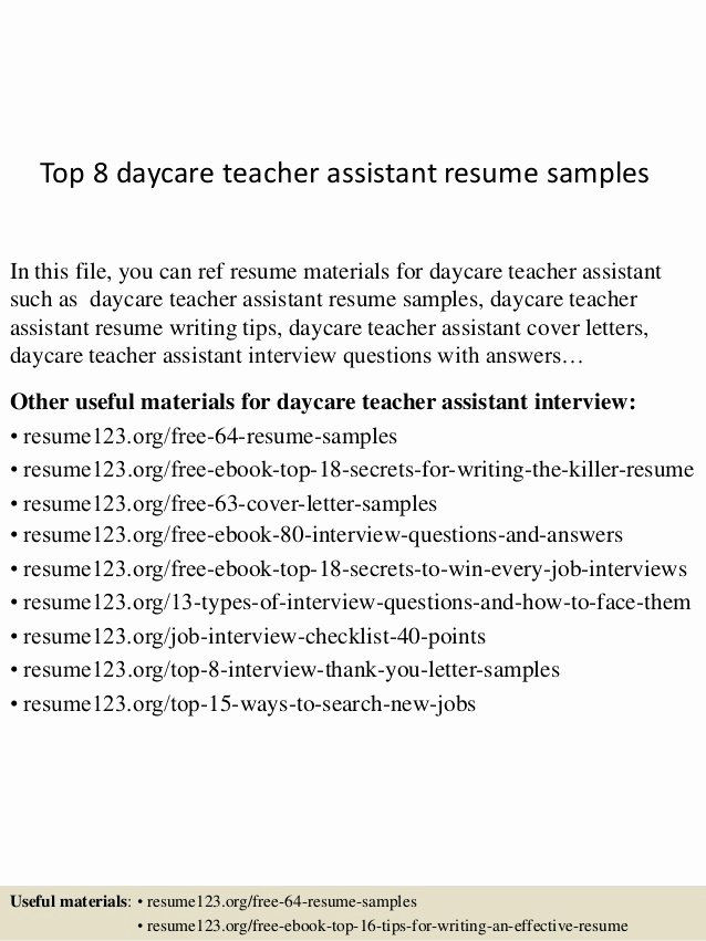 Daycare Teacher Resume Sample Beautiful top 8 Daycare Teacher assistant Resume Samples