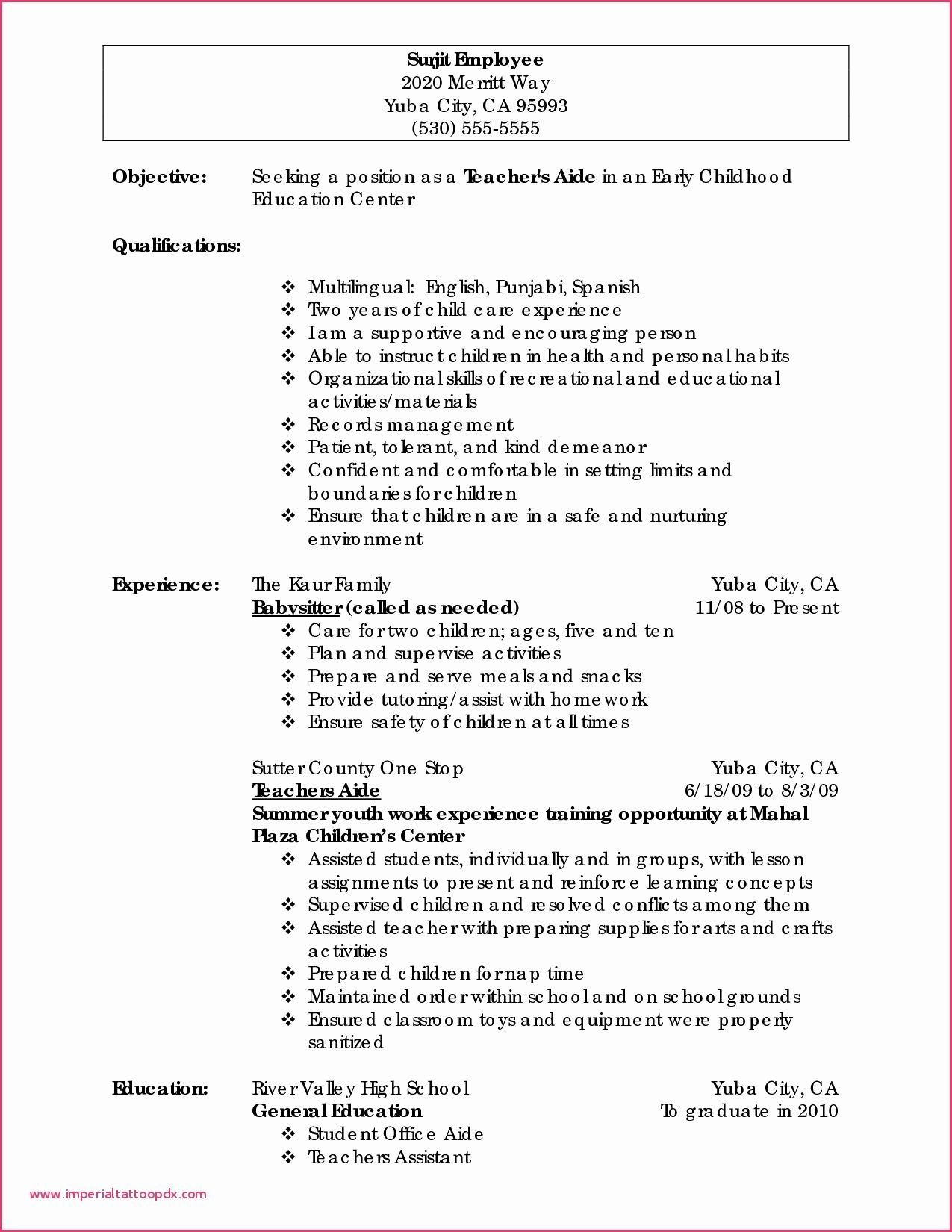Daycare Teacher Resume Sample Best Of Preschool Classroom Observation Report Example