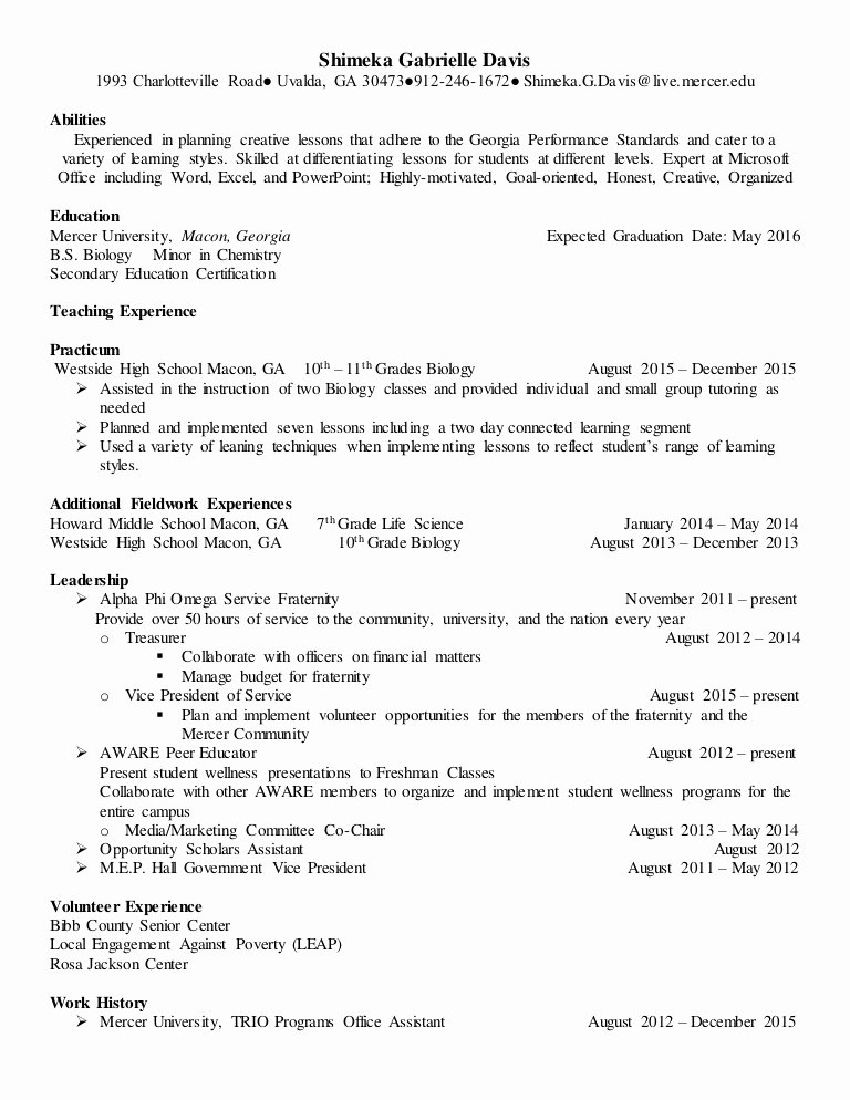 Daycare Teacher Resume Sample Elegant Biology Teacher Resume