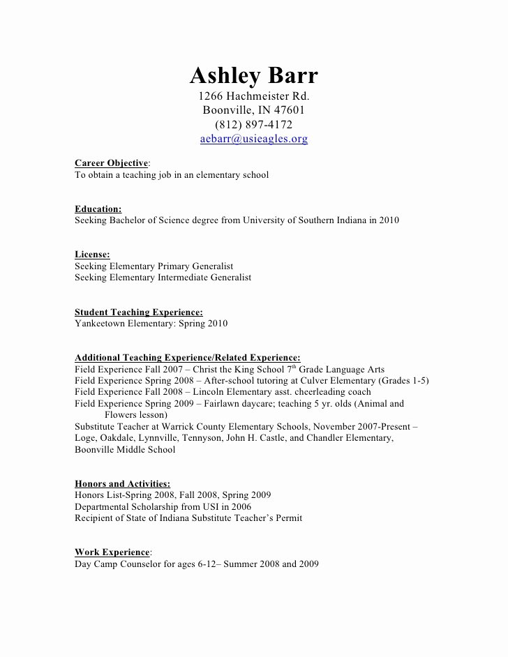 Daycare Teacher Resume Sample Fresh Teaching Resume