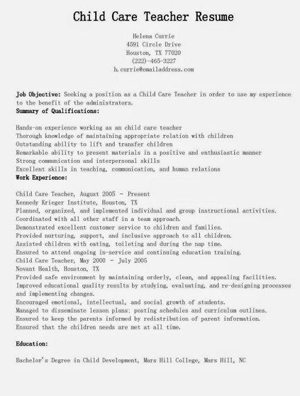 Daycare Teacher Resume Sample Lovely 461 Best Job Resume Samples Images On Pinterest