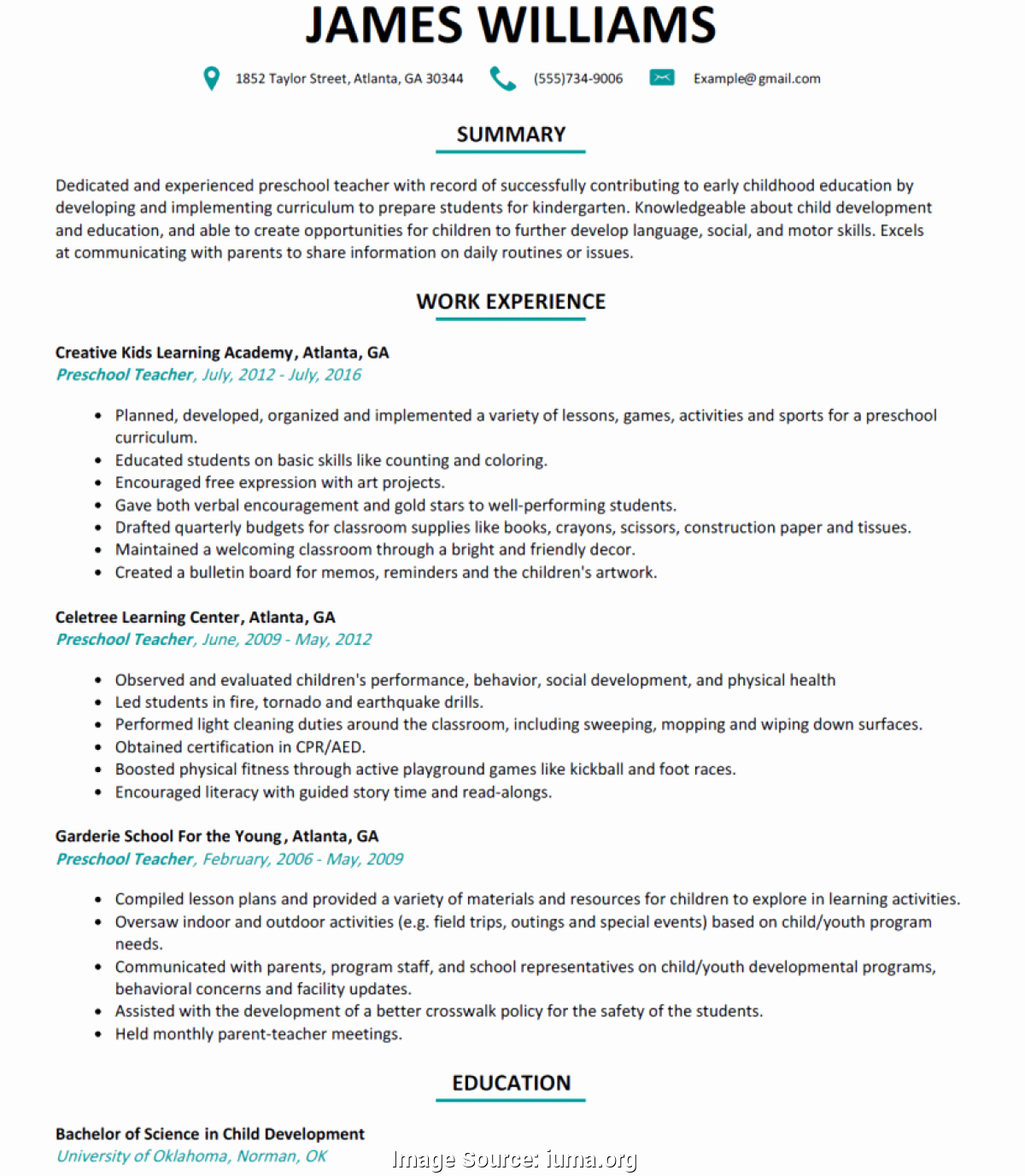 Daycare Teacher Resume Sample Lovely Fresh Sample Lesson Plan for Preschool Preschool Teacher