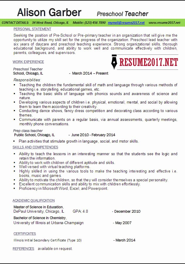 Daycare Teacher Resume Sample Lovely Preschool Teacher Resume Samples 2017