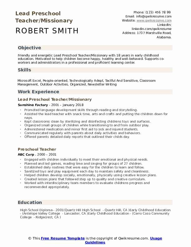 Daycare Teacher Resume Sample Lovely Preschool Teacher Resume Samples