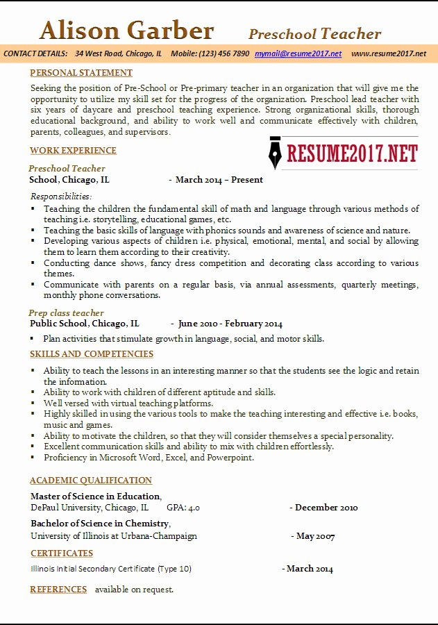 Daycare Teacher Resume Sample Luxury Preschool Teacher Resume Samples 2017
