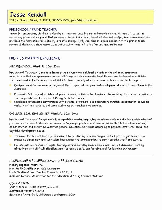 Daycare Teacher Resume Sample Luxury Samples Preschool Teacher Resume