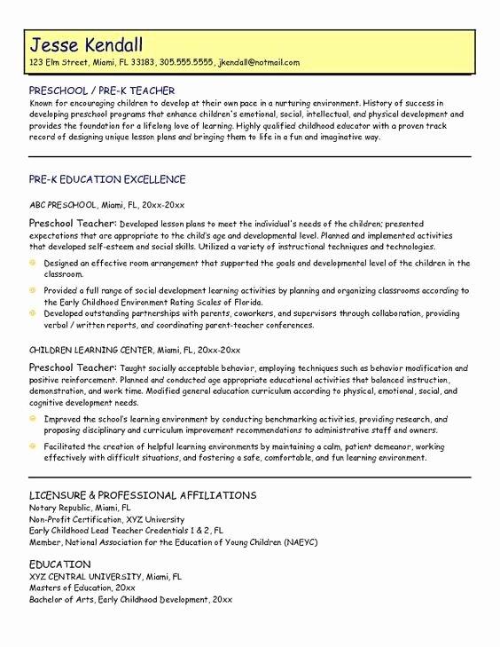 Daycare Teacher Resume Sample Luxury Samples Preschool Teacher Resume