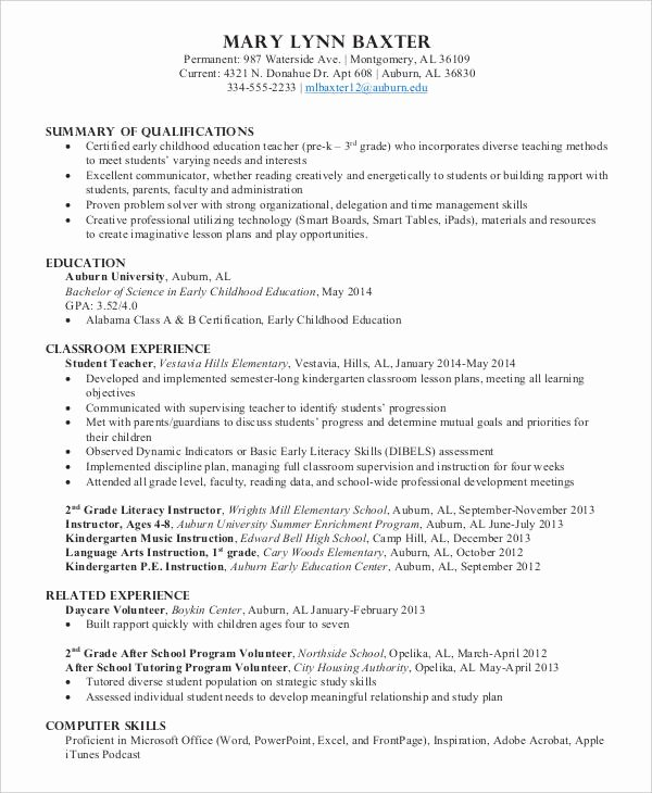 Daycare Teacher Resume Sample New 9 Preschool Teacher Resume Templates Pdf Doc