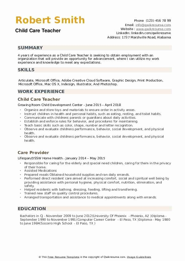 Daycare Teacher Resume Sample Unique Child Care Teacher Resume Samples