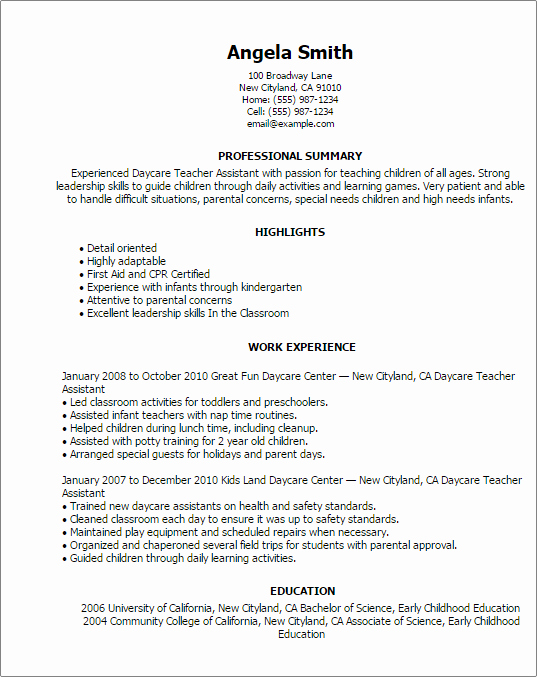 Daycare Teacher Resume Sample Unique Professional Daycare Teacher assistant Templates to