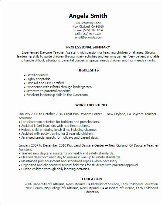Daycare Teacher Resume Sample Unique Professional Daycare Teacher assistant Templates to