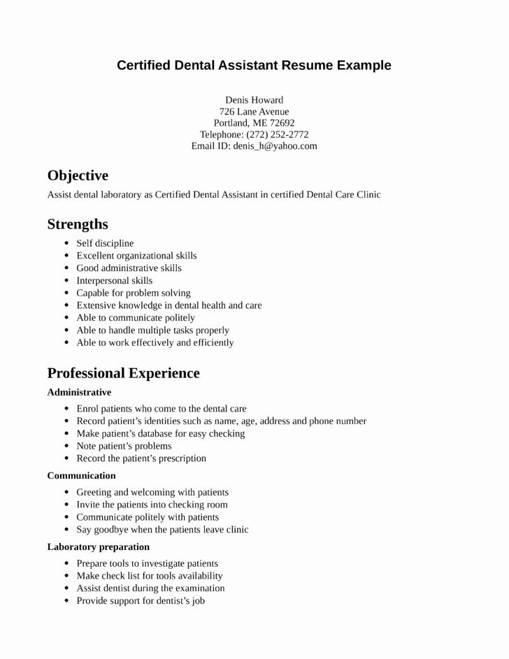 Dental assistant Student Resume Best Of Functional Dental assistant Resume Template
