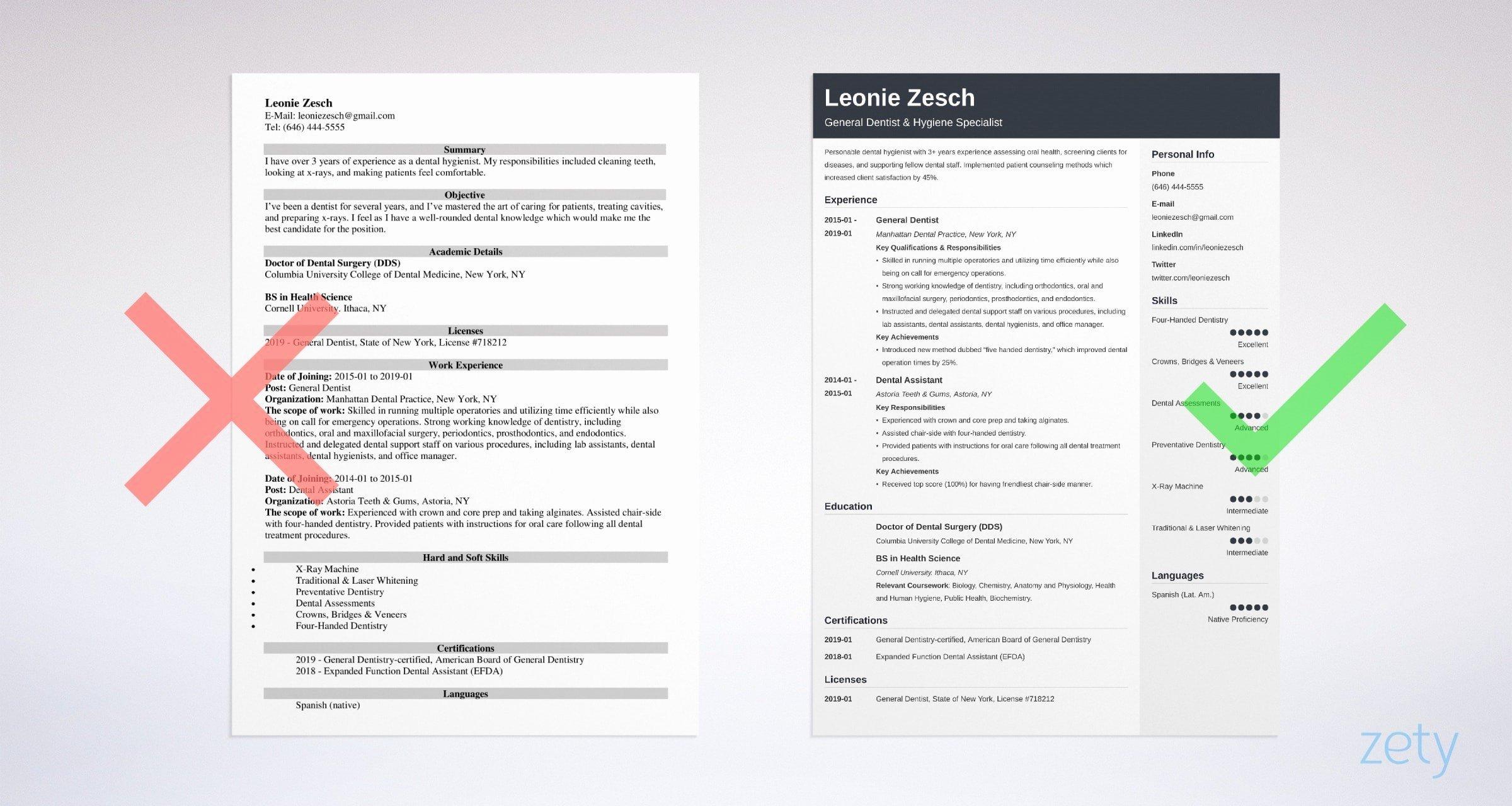 Dental assistant Student Resume Elegant Dentist Resume Sample & Plete Writing Guide [20 Examples]