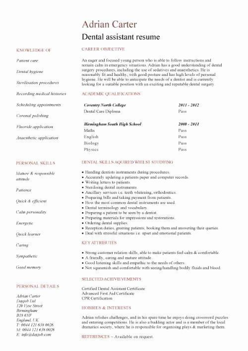 Dental assistant Student Resume Luxury Student Entry Level Dental assistant Resume Template