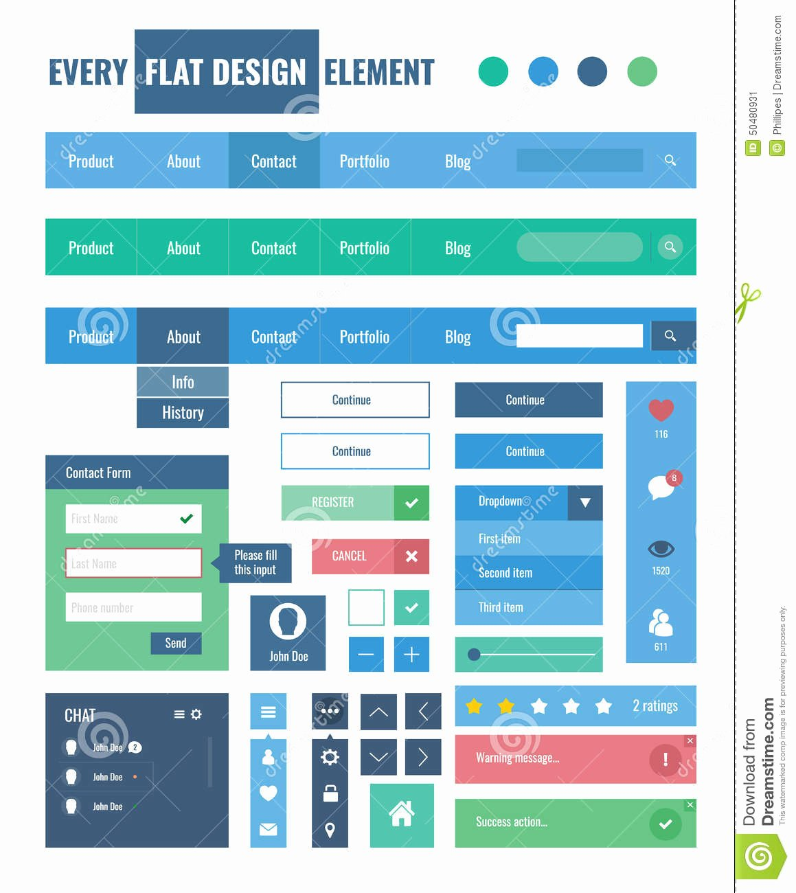 Design A button Kit Awesome Flat Ui Kit Design Elements for Webdesign Stock Vector