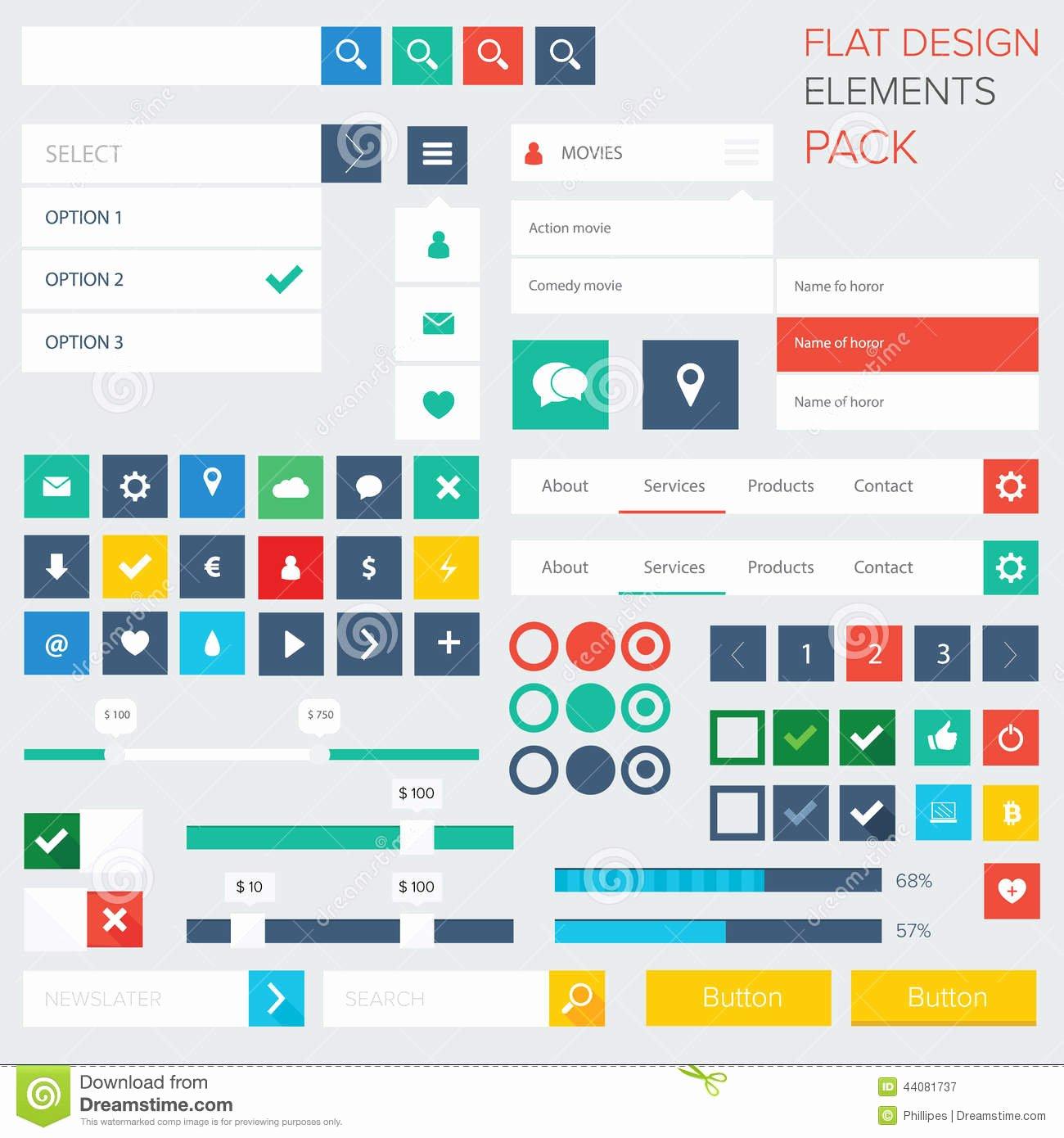 Design A button Kit Lovely Flat Ui Kit Design Elements for Webdesign Stock Vector