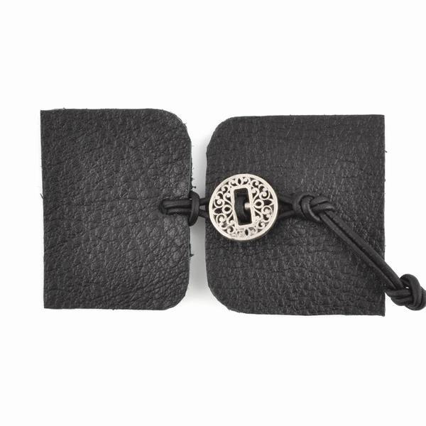 Design A button Kit Luxury Designs Leather Kit Bracelet Black Antique Silver button