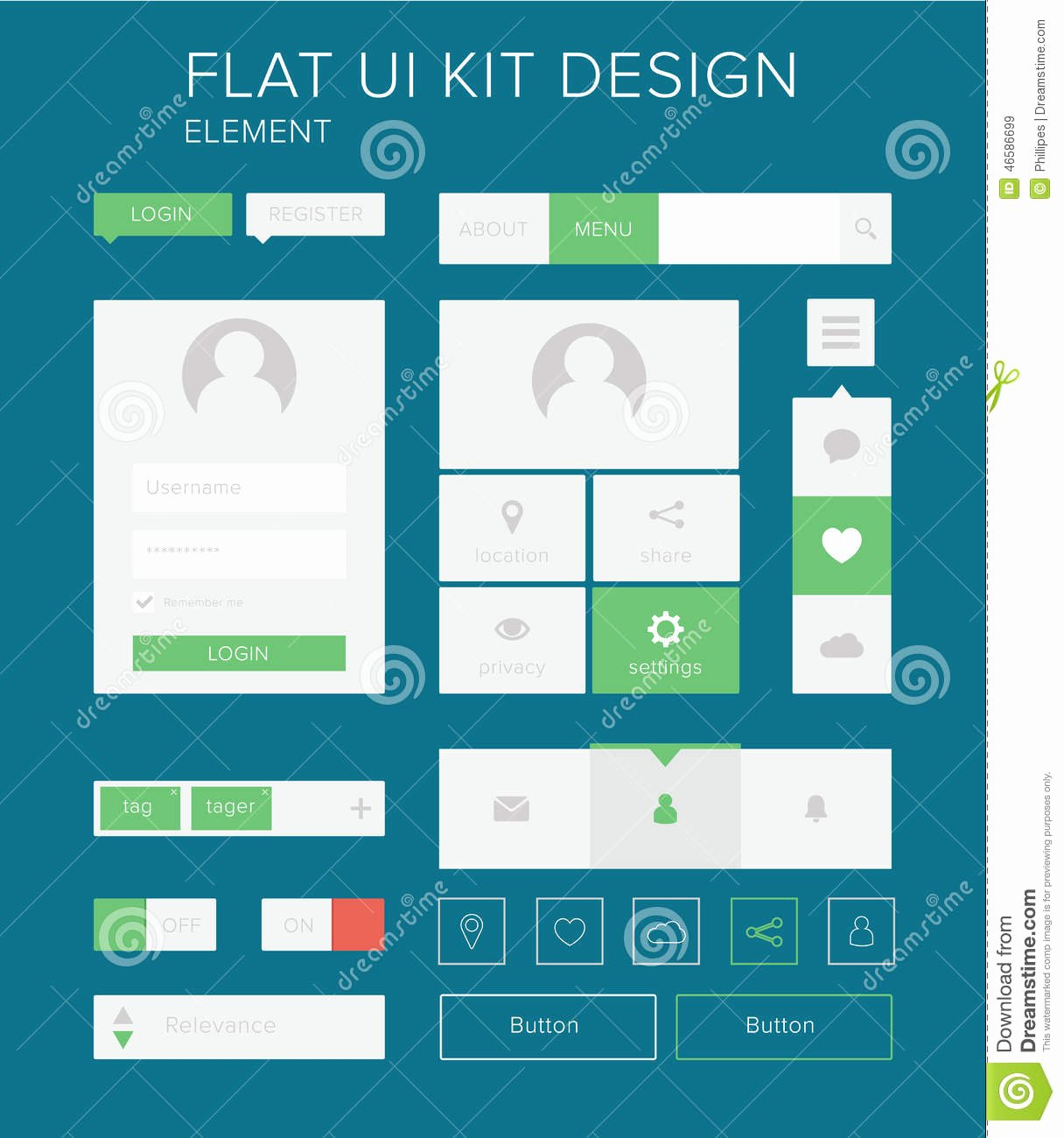 Design A button Kit Luxury Flat Ui Kit Design Elements Set for Webdesign Stock Vector