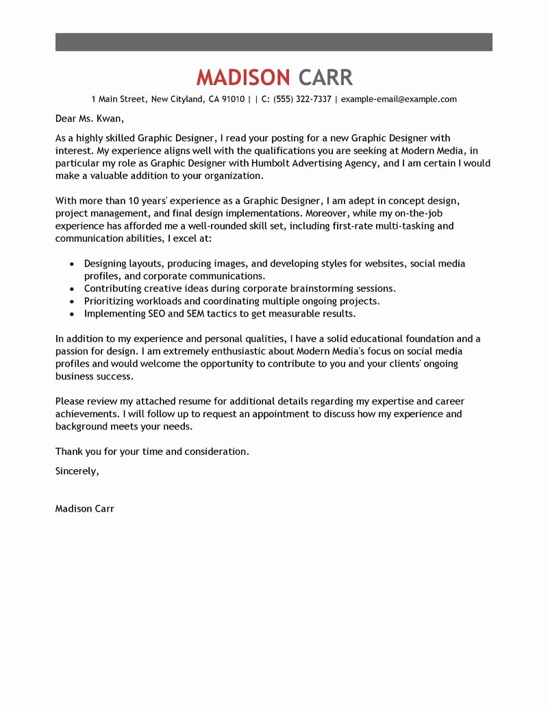 Design Cover Letter Examples Luxury Best Graphic Designer Cover Letter Examples