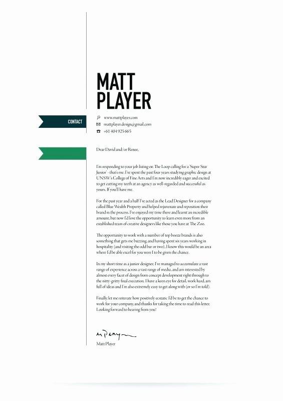 Design Cover Letter Examples New Cover Letter Design Resume Design
