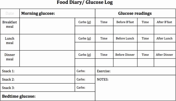 Diabetes Food Diary Printable Inspirational Food and Blood Glucose Tracker [printable]