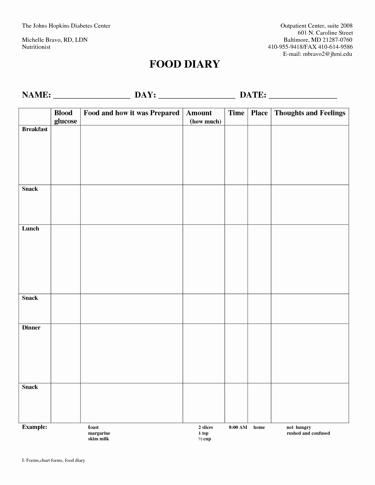 Diabetes Food Diary Printable Lovely Best S Of Weekly Food Diary form Weekly Food Diary